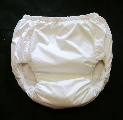 2043 Dicke Schwedenknoepfer PVC-Baumwollehose weiss