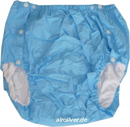 2043 Dicke Schwedenknoepfer PVC-Baumwollehose blau/blue