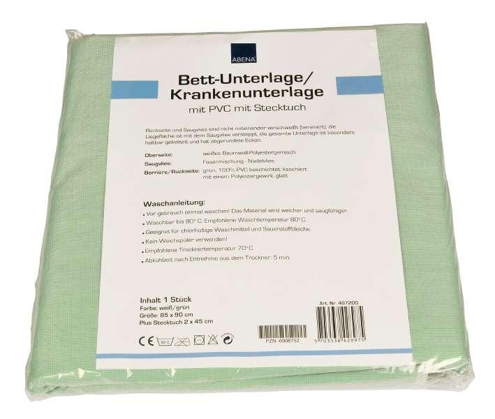 Abri-soft Krankenunterlage mit PVC waschbar 85x90cm +Fluegel weiss/gruen