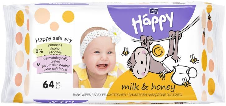 Bella Happy Feuchttuecher Milch und Honig 64er Packung