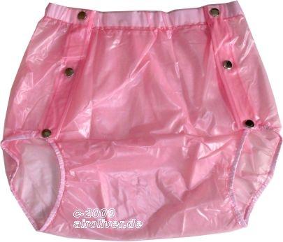 Su Slip PVC , grosse Metalldrucker Nr.1249 transparent rosa