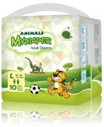 MyDiaper Animal Nacht Windel Gr.L , bunt, 10er Packung