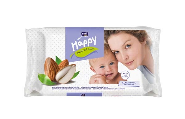 Bella Happy Feuchttuecher Natural Care 56er Packung