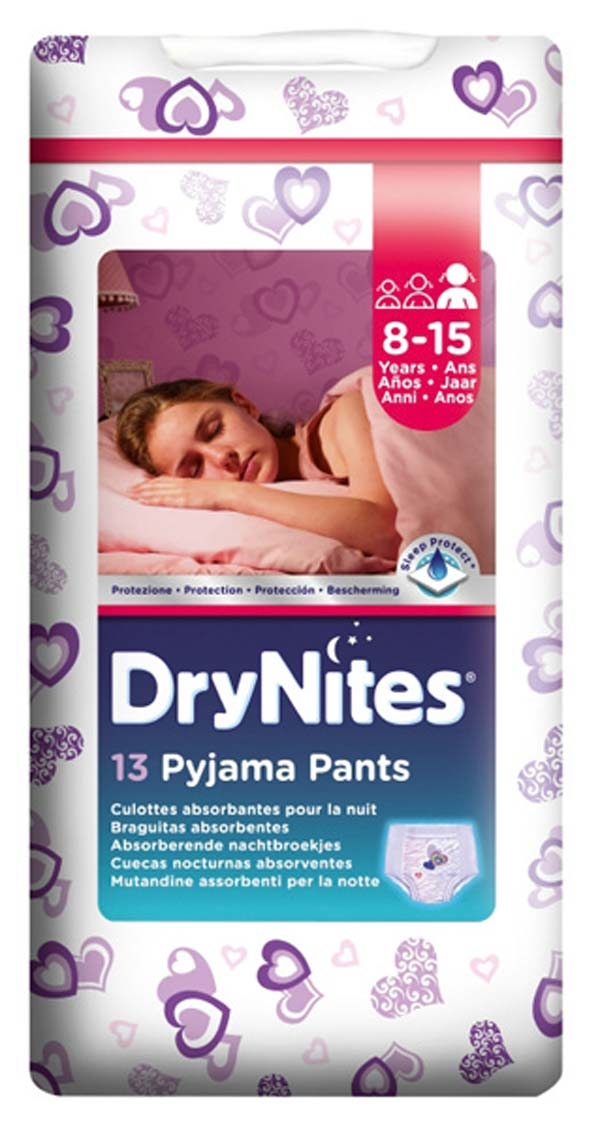 HUGGIES DRY NITES Pyjama Pants f. Maedchen/girl 8-15 Jahre 27-57kg 13er BIG Packung