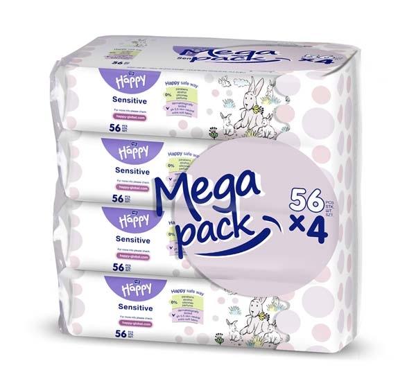Bella Happy Feuchttuecher Sensitive 4x 56er BIG-Packung