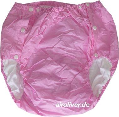 2043 Dicke Schwedenknoepfer PVC-Baumwollehose rosa/pink