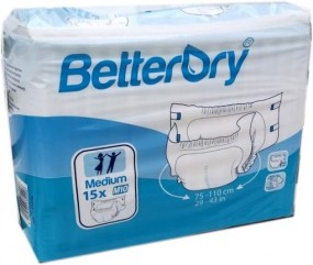 BetterDry Windelhose Medium M10 Nacht weiss , 15er Packung 15.25.03.1451