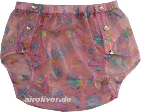 PUL Schweden Slip PVC ,grosse Metalldrucker Nr.1249 Kindermuster rosa