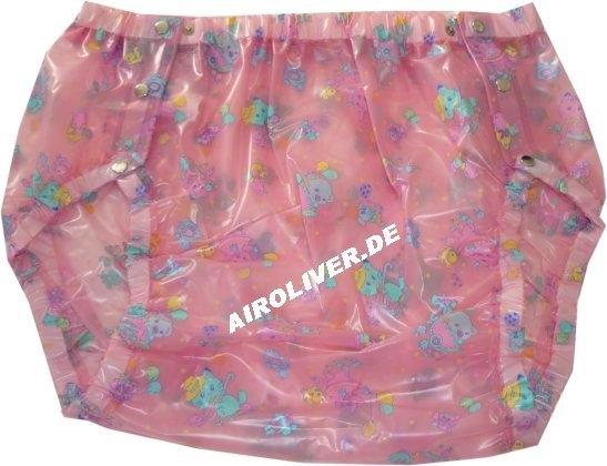 Su Slip PVC , grosse Metalldrucker Nr.1249 Kindermuster rosa