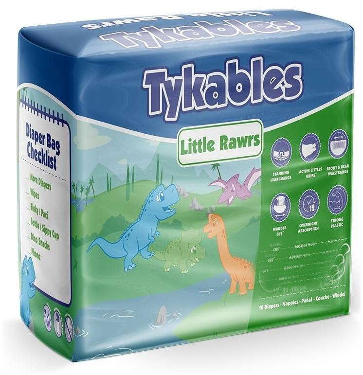 Tykables Little Rawrs Windelhose large bunt , 10er Packung
