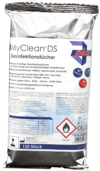 MYClean DS Schnelldesinfektonstuecher neutral 120Stueck/Packung Inventar/Oberflaechen