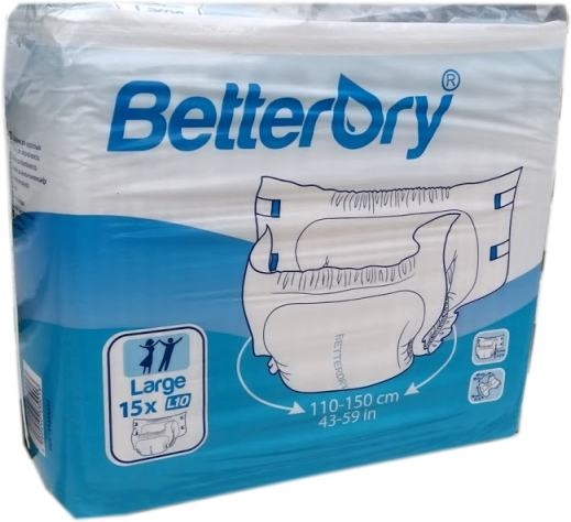 BetterDry Windelhose Large L10 Nacht weiss , 15er Packung 15.25.03.1452