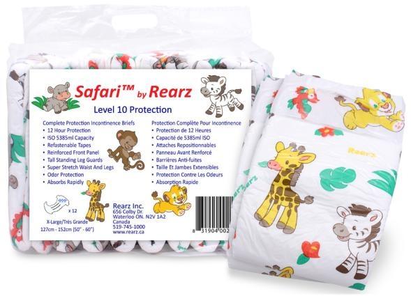 Safari Windelhose large bunt , 12er Packung