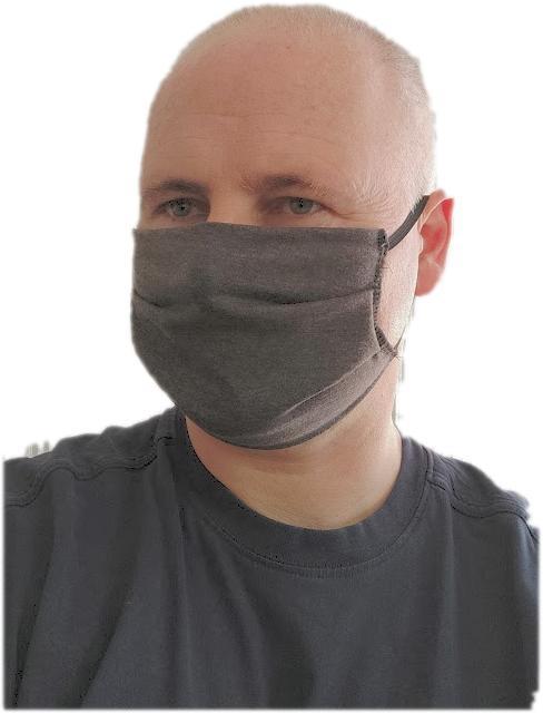 Suprima Mund-Nasen-Maske ANTHRAZIT ,2-lagig m. Ohrengummis, waschbar , EINZELSTUECK