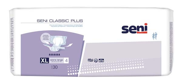 Seni Classic Plus Nacht Windel Xlarge Gr.4 , weiss/lila ,15.25.31.8152 ,30er Packung