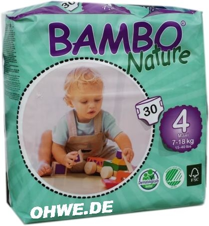 Bambo Nature Maxi 9-18 kg Groesse 4 , 6x30 Stueck