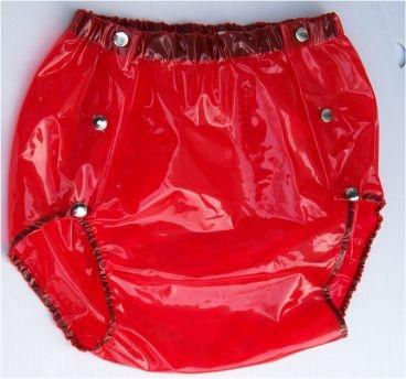 Su Slip PVC , grosse Metalldrucker Nr.1249 rot transparent ++AV++