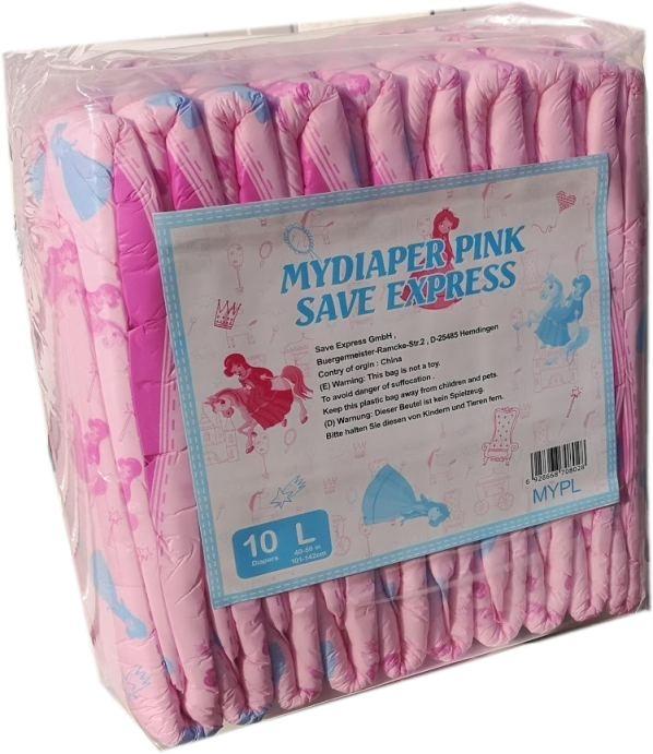 MyDiaper Pink Nacht Windel Gr.L , bunt, 10er Packung